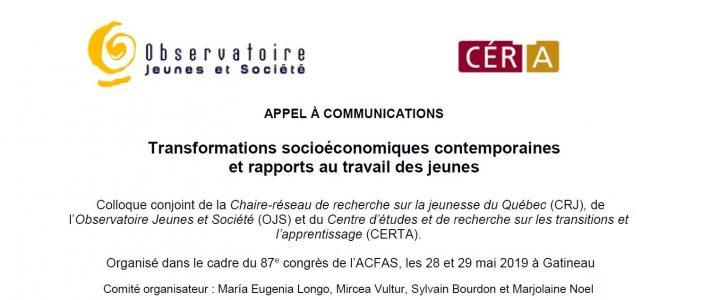 APPEL À COMMUNICATIONS ACFAS 2019