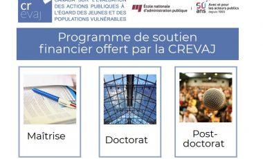 Nouveau programme de soutien financier de la CREVAJ !
