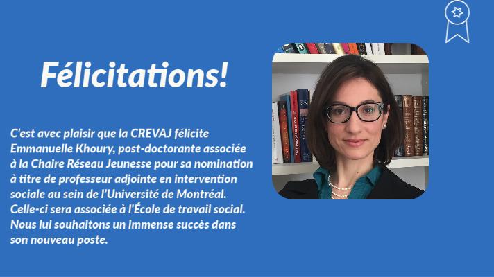 Nos félicitations pour la nomination d'Emmanuelle Khoury